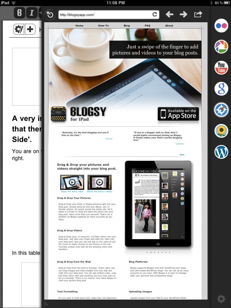 Blogsy blog editor app on iPad